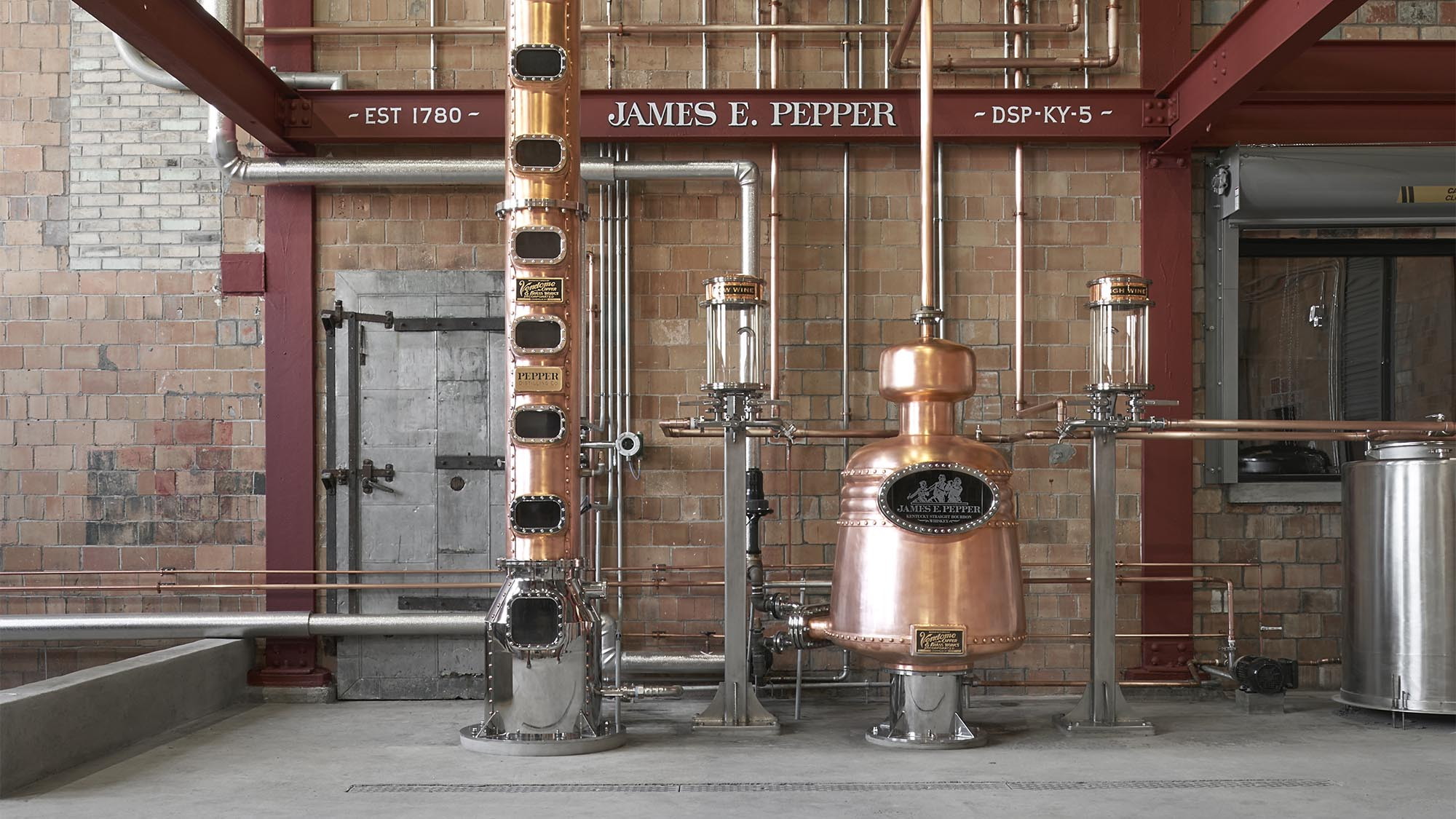 Copper stills at James E. Pepper - Distillery District - Town Branch Creek